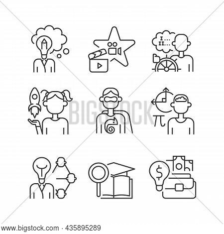 Vocation Linear Icons Set. Professional And Educational Abilities. Networking, Entrepreneurship Tale