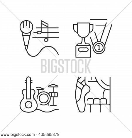 Hobby And Leisure Linear Icons Set. Talent Competition. Performing On Stage. Musical And Sports Tale
