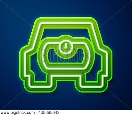 Glowing Neon Line Gas Tank For Vehicle Icon Isolated On Blue Background. Gas Tanks Are Installed In