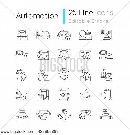 Automation Linear Icons Set. Advanced Manufacturing. Improve Everyday Life. Using Robotic Hands. Cus
