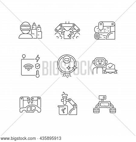 Automation Technologies Linear Icons Set. Manufacturing Robots. Automated Laundry And Cleaning. Cust