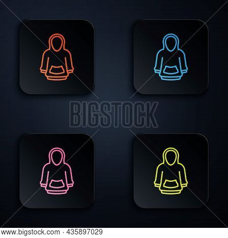 Color Neon Line Hoodie Icon Isolated On Black Background. Hooded Sweatshirt. Set Icons In Square But