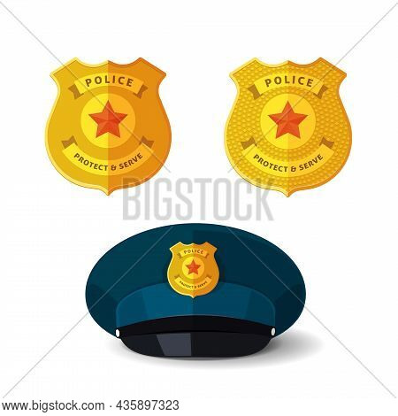 Golden Police Badge Vector Isolated Or Special Security Officer Cop And Sheriff Metallic Emblem On R