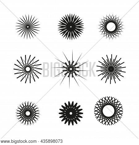 Set Of Patterns Of Solar Halo, Sun Crown, Snowflakes, Glitter Of Stars. Vector Illustration For Desi