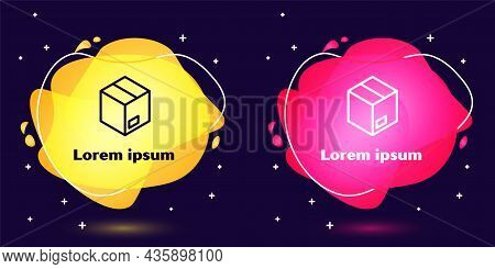 Set Line Carton Cardboard Box Icon Isolated On Blue Background. Box, Package, Parcel Sign. Delivery