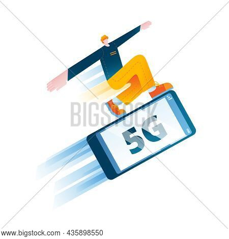 A Young Man Is Surfing On A Mobile Phone At High Speed. The Concept Of A Vector Illustration On The