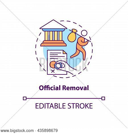 Official Removal Concept Icon. Visa Denied. Refusal For Border Entry. Immigrant Leaves Country. Depo