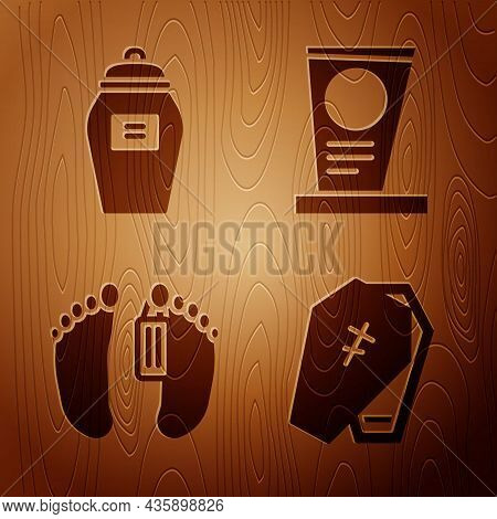 Set Coffin With Cross, Funeral Urn, Dead Body And Grave With Tombstone On Wooden Background. Vector