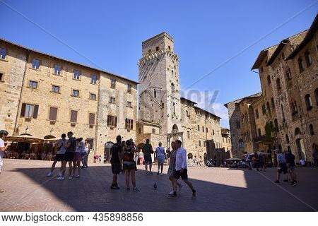 San Gimignano (italy), September 6, 2021. It Is A Small Walled Town Of Medieval Origin. It Is Very F