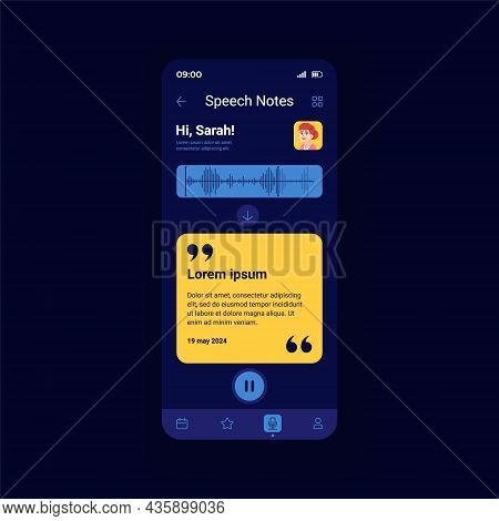 Speeh Notes Dark Smartphone Interface Vector Template. Mobile App Page Design Layout. Writing Messag