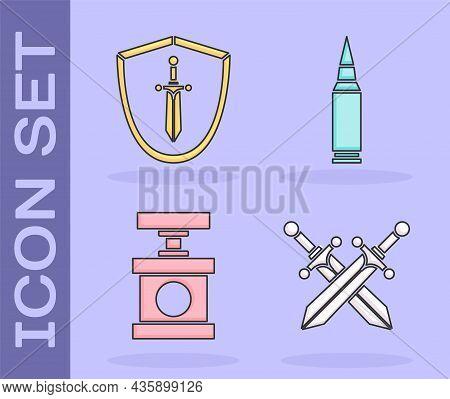 Set Crossed Medieval Sword, Medieval Shield With Sword, Handle Detonator For Dynamite And Bullet Ico