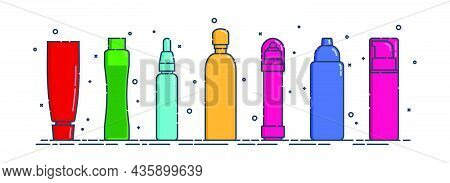 Cosmetic Container. Body Care Hygiene. Set Blank Package Bottle. Seven Plastic Makeup Jar Product. C