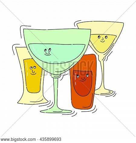 Tequila Vermouth Rum Martini Glassware With Smile Face On White Background. Cartoon Sketch. Doodle S