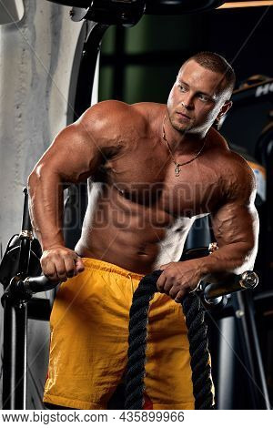 Bald Brutal Sexy Strong Bodybuilder Athletic Fitness Man Pumping Up Abs Muscles Workout Bodybuilding