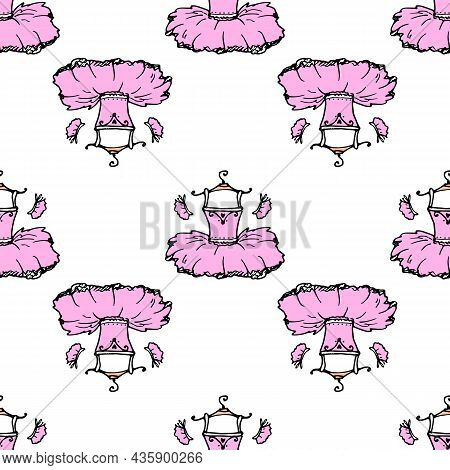 A Pattern From A Tutu On A Hanger. A Hand-drawn Pink Ballerina Dress On A Hanger, Often Placed On Wh