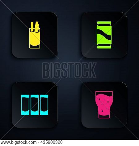 Set Glass Of Beer, Cocktail Bloody Mary, Shot Glass And Beer Can. Black Square Button. Vector