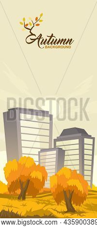 Cartoon Illustration Of The Rural Autumn Landscape With City On Background