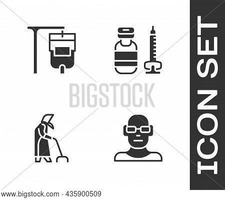 Set Poor Eyesight, Iv Bag, Grandmother And Syringe Icon. Vector