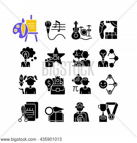 Talents And Aptitudes Black Glyph Icons Set On White Space. Skills And Intelligence. Creative And Pr