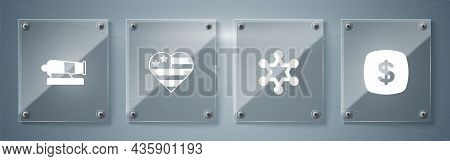 Set Dollar Symbol, Hexagram Sheriff, Usa Independence Day And Cannon. Square Glass Panels. Vector