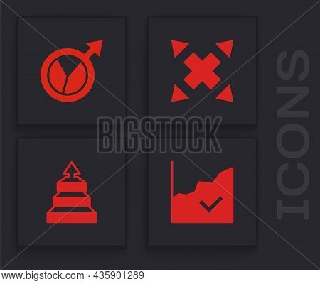 Set Financial Growth Increase, , Many Ways Directional Arrow And Pyramid Chart Infographics Icon. Ve