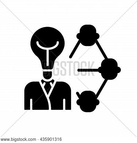 Influencing And Leadership Black Glyph Icon. Inspire People. Control And Guidance At Work. Persuade