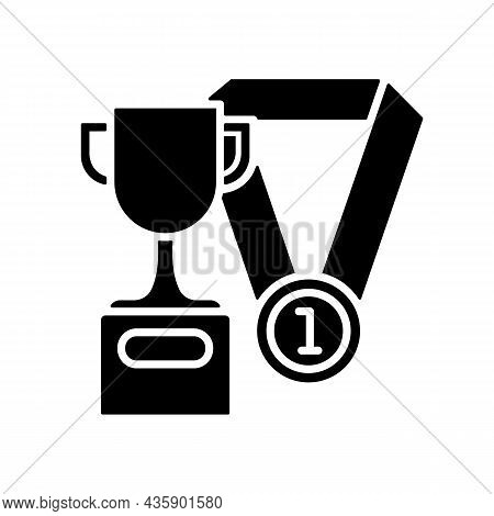 Sports Talent Black Glyph Icon. Athletic Aptitude. Talented Sportsman. Sports Competition Award. Phy