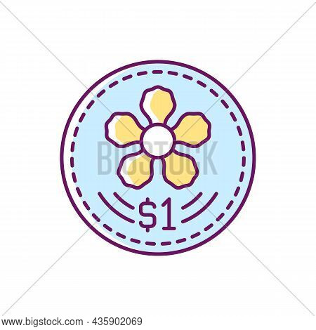 Coins Design Rgb Color Icon. Singapore Dollar. Official Currency. Singaporean National Flower Depict