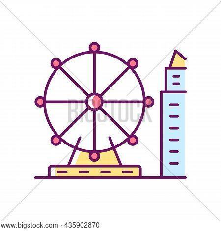 Singapore Flyer Rgb Color Icon. Large Observation Wheel. Amusement Ride. Theme Park. Giant Ferris Wh
