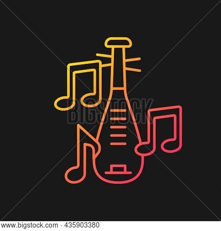 Pipa Instrument Gradient Vector Icon For Dark Theme. Four-stringed Plucked Lute. Traditional Pear-sh
