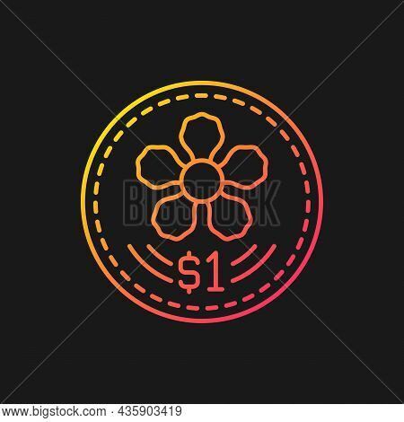 Coins Design Gradient Vector Icon For Dark Theme. Singapore Dollar. Official Currency. Orchid Design