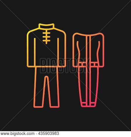 Traditional Dresses Gradient Vector Icon For Dark Theme. Singapore National Costume. Baju Kurung. Tr