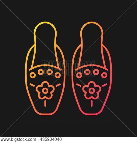 Traditional Beadwork Gradient Vector Icon For Dark Theme. Singaporean Beaded Slippers. Decorate Clot