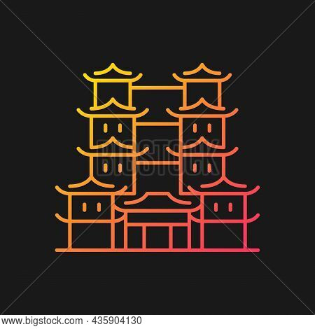 Tooth Relic Temple Gradient Vector Icon For Dark Theme. Spiritual Hub For Buddhists. Southern China