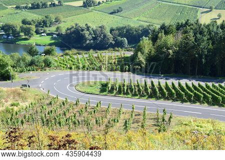Vineyards Road Curve In Mosel Valley During Summer