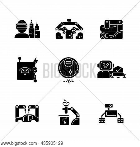 Automation Technologies Black Glyph Icons Set On White Space. Manufacturing Robots. Internet Of Thin