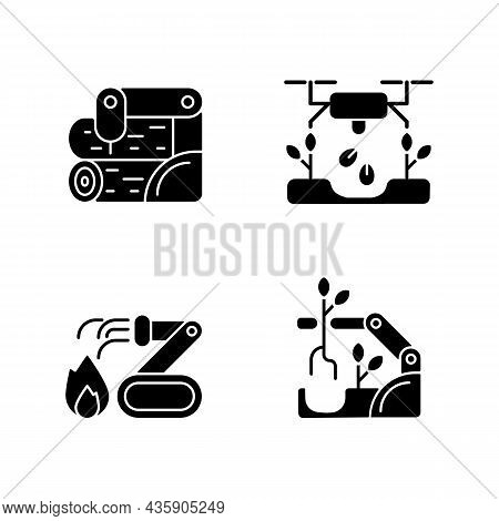 Automation For Wellbeing Black Glyph Icons Set On White Space. Wood Processing. Drones For Planting.