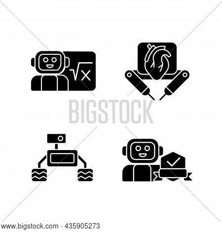 Robotics Technology Black Glyph Icons Set On White Space. Surgical Robot. Robotic Vehicle. Home Safe