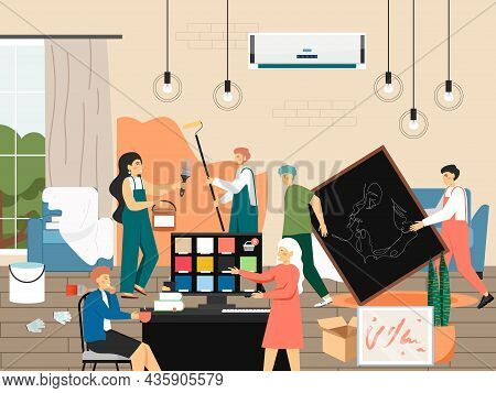 Home Repair And Improvement, Flat Vector Illustration. Painter Painting Wall. Home Interior Designer