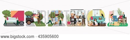 People Move To New House, Pack Things, Loaders Carry Sofa, Cardboard Boxes, Vector Illustration. Hom