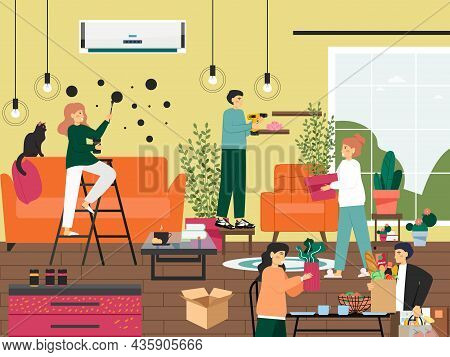 Home Repair And Improvement. Interior Designer Decorating Room With Wall Mural Art, Houseplants, Vec