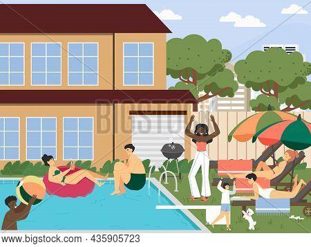 Hotel, Resort Swimming Pool. People Sunbathing, Drinking Cocktail, Vector Illustration. Summer Vacat