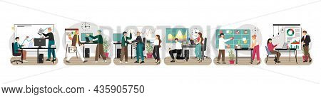 Business People Team Work, Vector Illustration. Group Of Office People Working Together. Cooperation