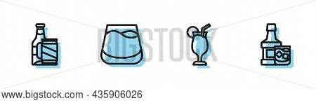 Set Line Cocktail, Beer Bottle And Beer Can, Glass Of Whiskey And Whiskey Glass Icon. Vector