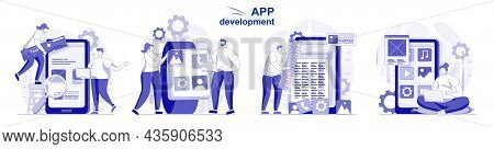 App Development Isolated Set In Flat Design. People Program And Develop Software For Mobile Phone Co
