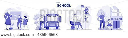 School Isolated Set In Flat Design. People Get Education, Pupils And Students Learning At Lessons Co