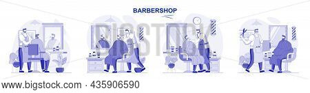 Barbershop Isolated Set In Flat Design. People Get Haircuts Or Shave Beard, Hairdresser Does Styling