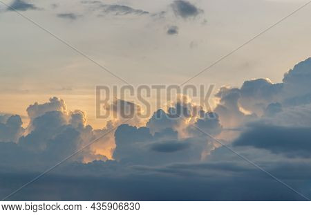 Beautiful Sky With Clouds Background. The Softness Of The Clouds And The Brightness Of The Sky. Ligh