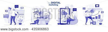 Digital Marketing Isolated Set In Flat Design. People Attraction New Clients And Online Promotion, C