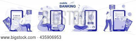 Mobile Banking Isolated Set In Flat Design. People Make Financial Transactions Using Application, Co